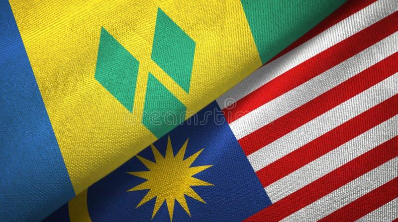 圣文森特和格林纳丁斯和马来西亚两面旗子 向量例证