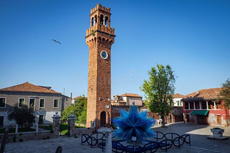 圣斯特凡诺教会钟楼在Murano,意大利 图库摄影