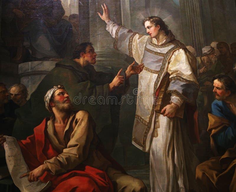圣日尔曼队des pres教会,巴黎,法国内部  免版税库存图片