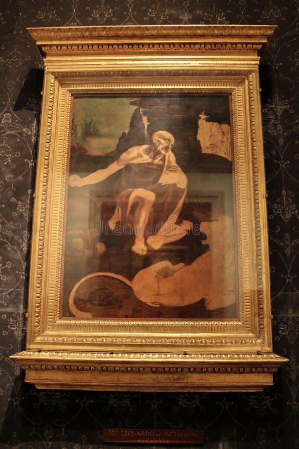 圣杰罗姆未完成的绘画在原野, (c 1480) 图库摄影