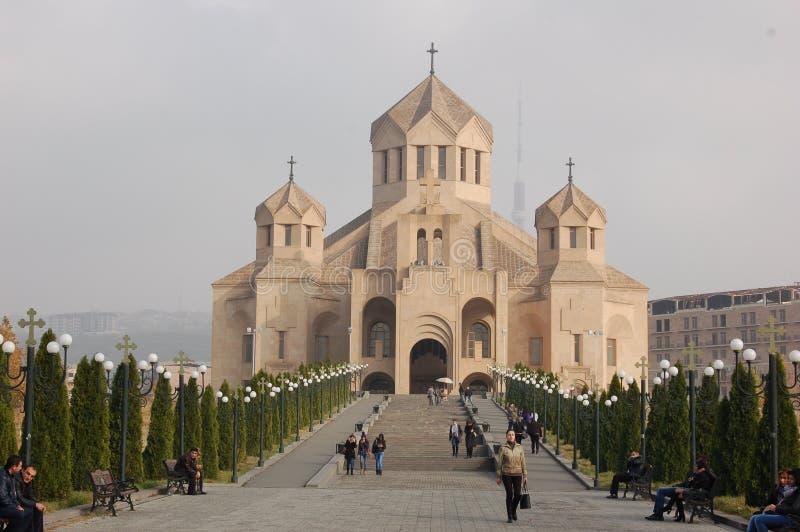 圣格雷戈里反光板大教堂在耶烈万,亚美尼亚 库存照片