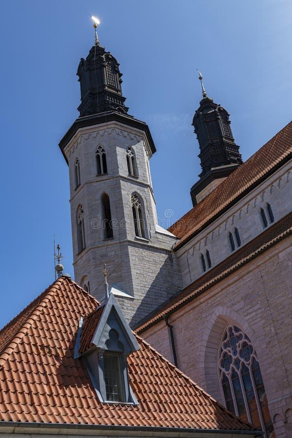 圣母主教座堂在哥得兰岛的,瑞典维斯比 免版税图库摄影