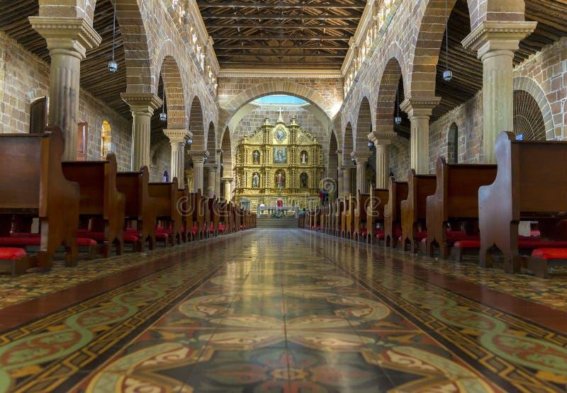圣母无染原罪瞻礼大教堂内部在Barichara -哥伦比亚 库存图片