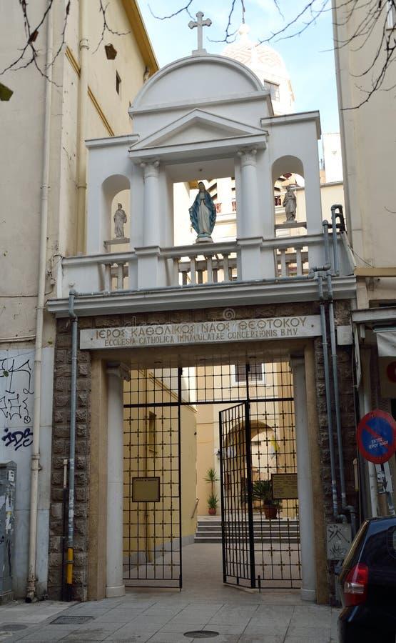 圣母无染原罪瞻礼的天主教在塞萨罗尼基,希腊 免版税库存图片