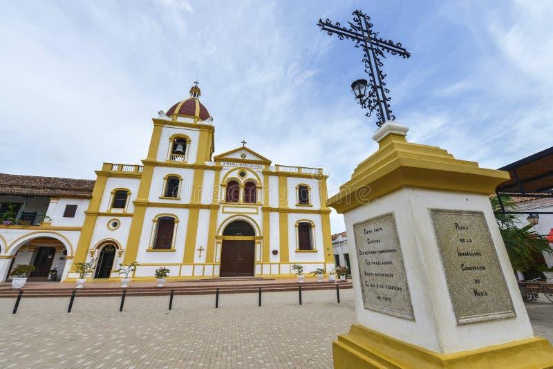 圣母无染原罪瞻礼的教会在Mompox,哥伦比亚 免版税库存图片