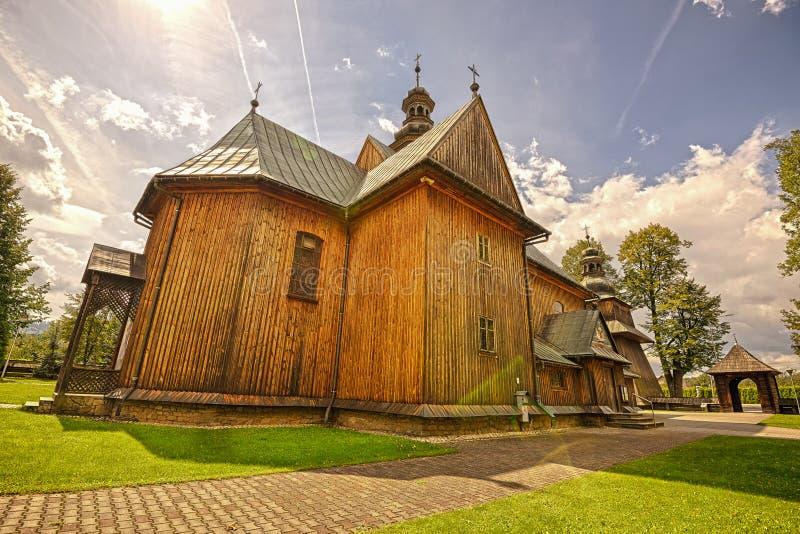 圣母无染原罪瞻礼的木教区教堂在Spytkowice, 图库摄影