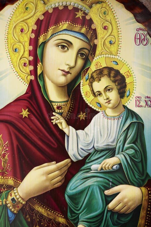 圣母玛丽亚和小耶稣基督 库存图片