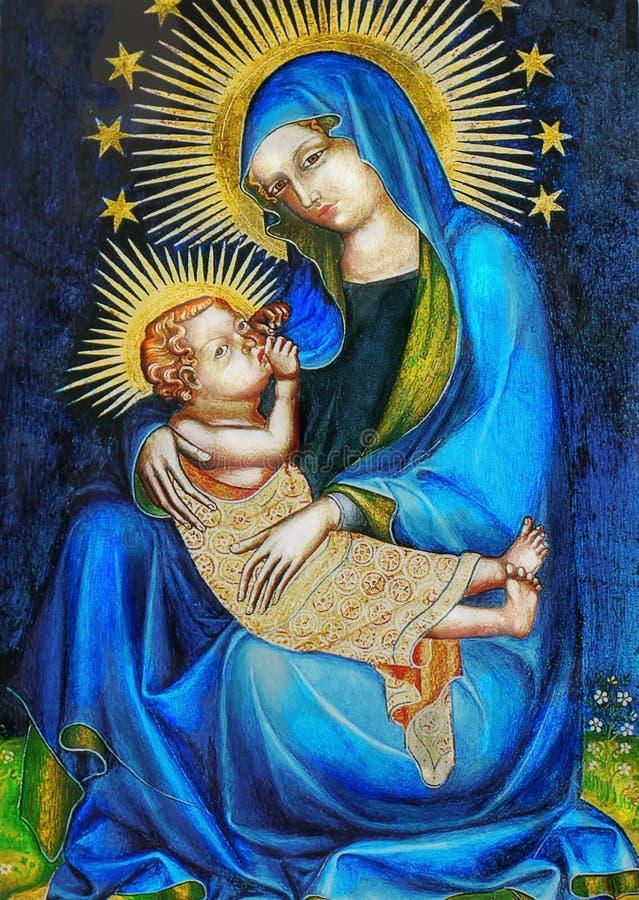 圣母玛丽亚和耶稣 库存照片