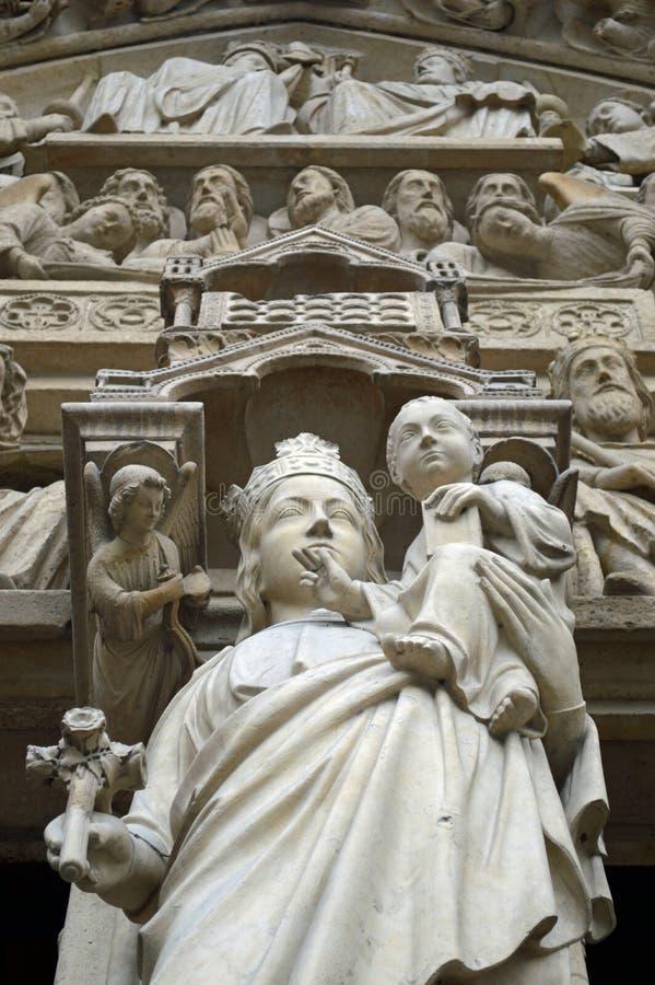 圣母玛丽亚,巴黎圣母院, Ile de la Cite,巴黎法国的门户 免版税库存图片