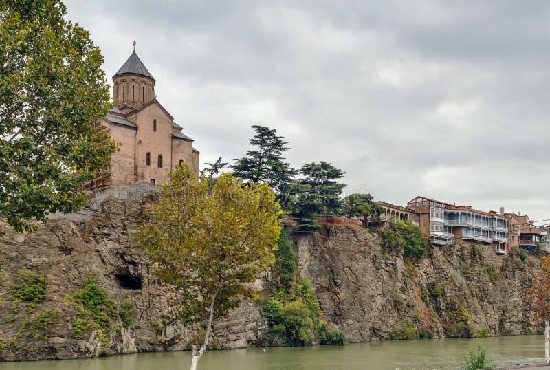 圣母玛丽亚Metekhi教会,第比利斯,乔治亚 免版税库存照片
