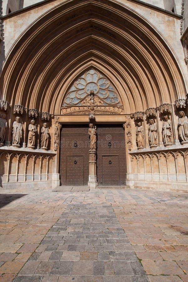 塔拉贡纳大教堂门户  图库摄影
