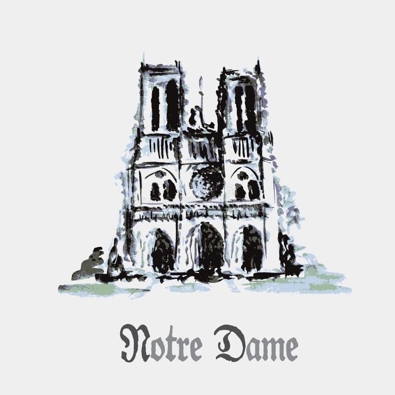 巴黎圣母院大教堂,法国 水彩手图画 库存例证