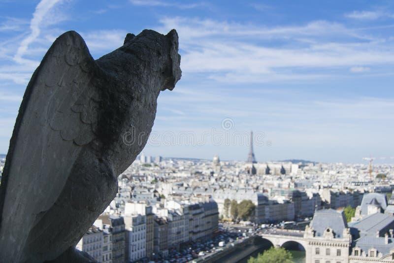 从巴黎圣母院屋顶的面貌古怪的人和城市景色  免版税库存图片