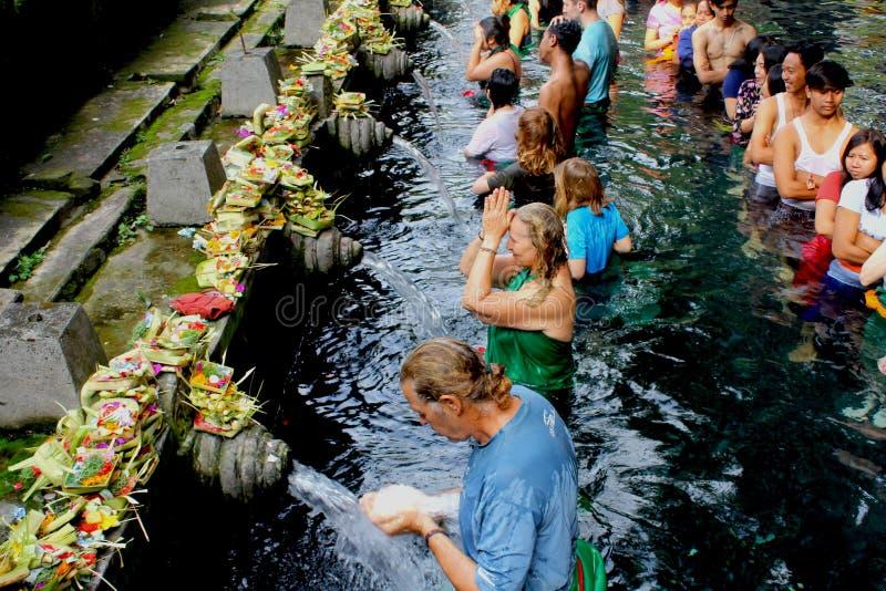 圣水寺庙在巴厘岛 图库摄影