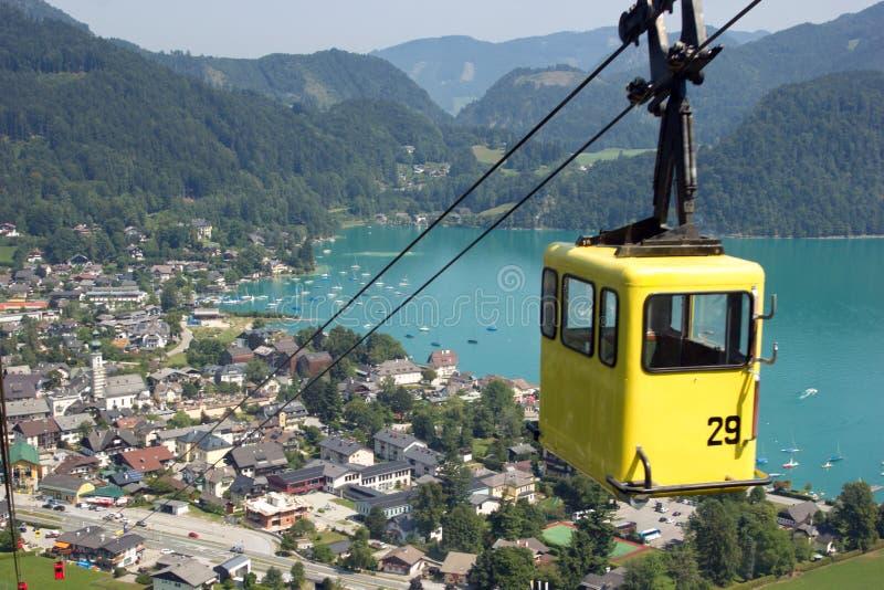 圣沃尔夫冈,奥地利鸟瞰图湖  库存图片