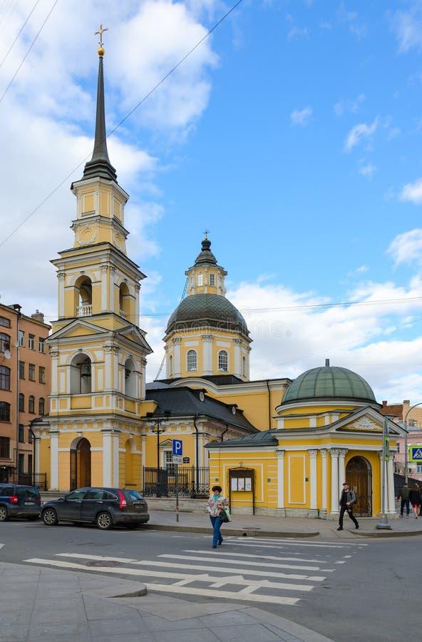圣洁公正的西梅昂寺庙神持票人和安娜女预言者Simeonovskaya教会,圣彼德堡,俄罗斯 免版税库存图片