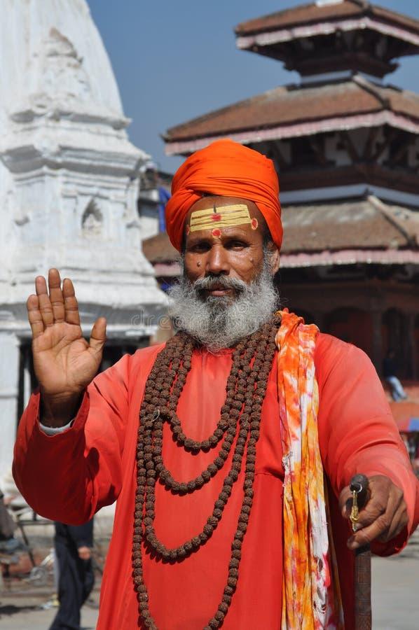 圣洁加德满都人尼泊尔sadhu 库存图片