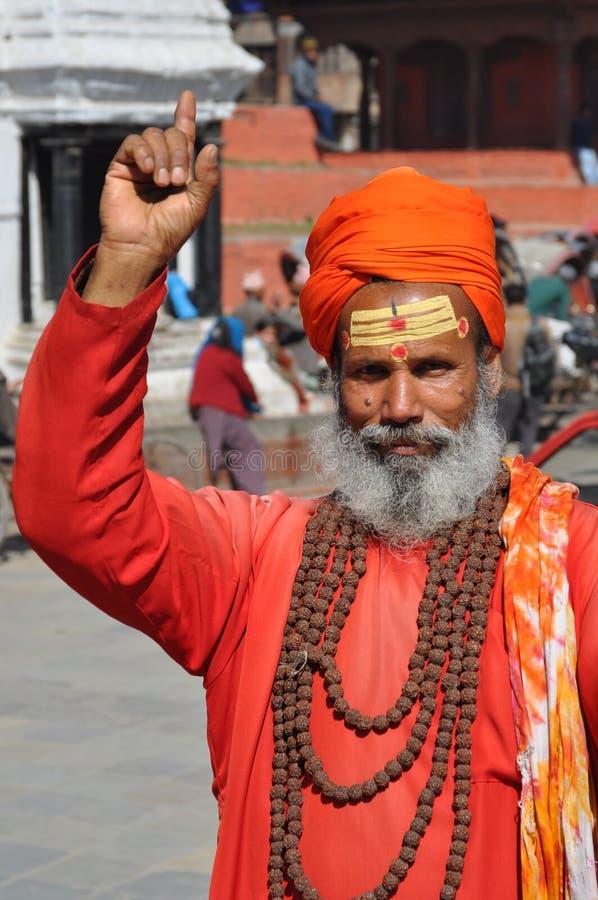 圣洁加德满都人尼泊尔sadhu 图库摄影