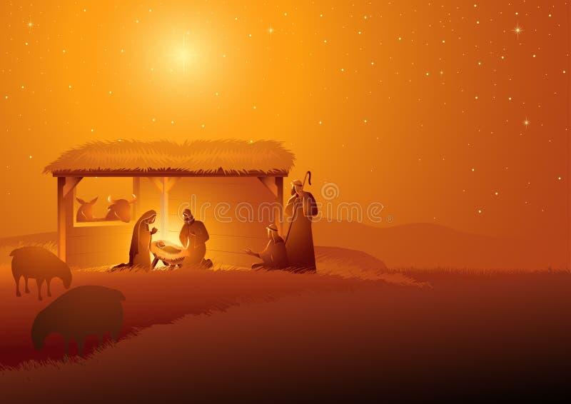 圣洁家庭的诞生场面在槽枥 库存例证