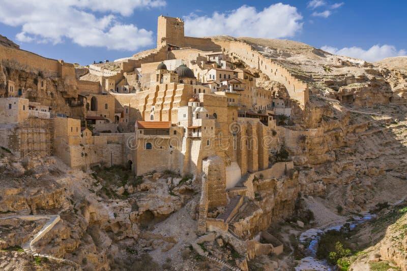 圣洁拉夫拉圣徒Sabbas神晟化伯利恒3月Saba, 免版税库存图片