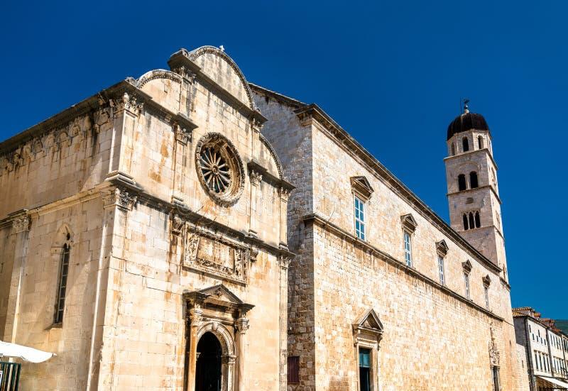 圣洁救主教会和方济会修道院在杜布罗夫尼克,克罗地亚 免版税图库摄影
