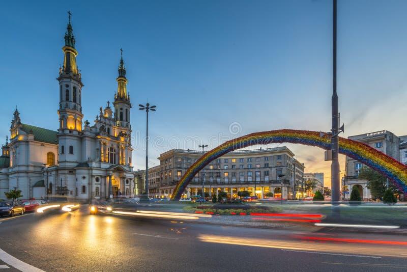 圣洁救主的教会在华沙,波兰 免版税库存图片