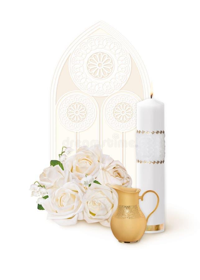 圣洁洗礼、卡片与一个白色蜡烛,花和一个水罐在一个窗口的背景与一块彩色玻璃 免版税库存图片