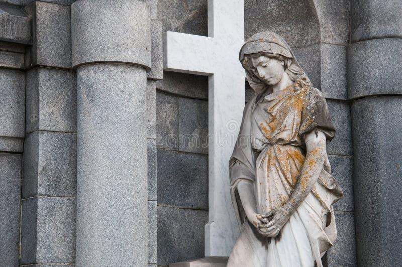 圣洁玛丽雕象 库存图片