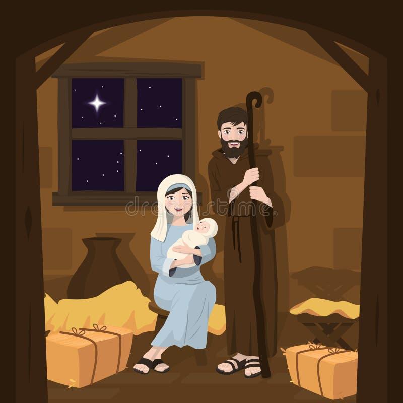 圣洁系列 圣诞节例证诞生场面向量 基督诞生 皇族释放例证