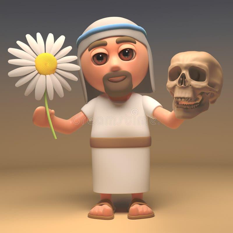 圣洁耶稣基督握一块头骨和花、生与死,3d例证 皇族释放例证