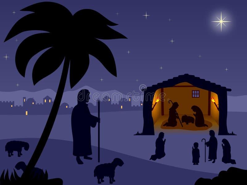 圣洁诞生晚上 向量例证