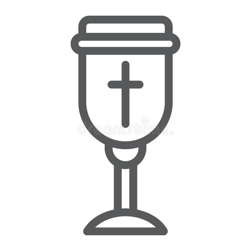 圣洁酒杯线象,基督徒和杯子,觚标志,向量图形,在白色背景的一个线性样式 库存例证