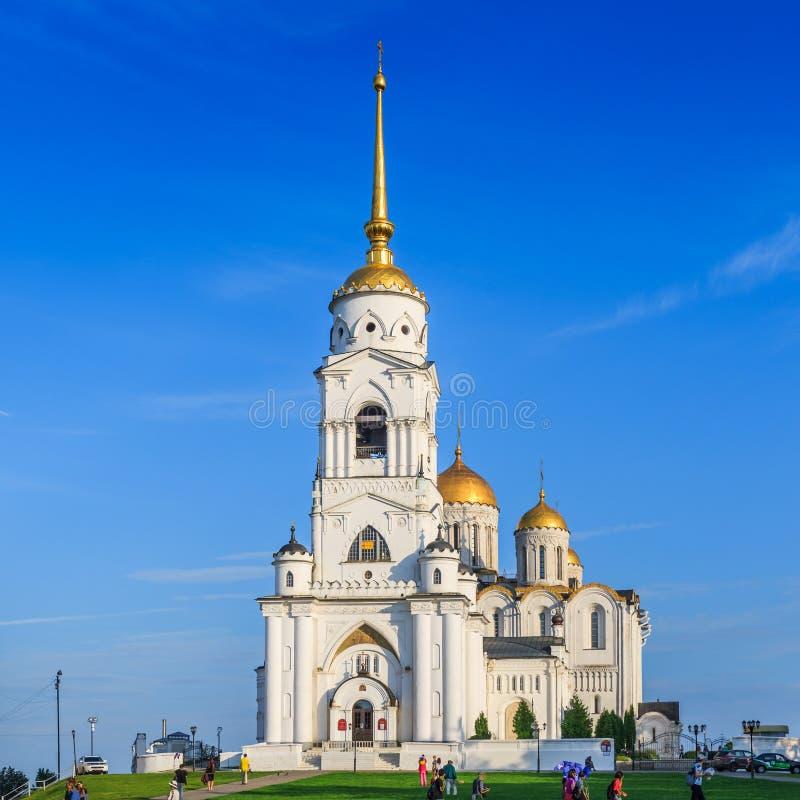圣洁Dormition大教堂或Uspenskiy大教堂在弗拉基米尔市,美丽的东正教 库存照片