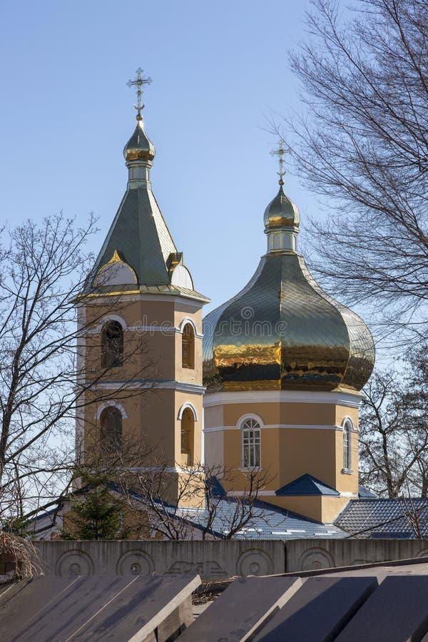 圣洁Tikhvin女修道院的教会在市德聂伯级 库存照片