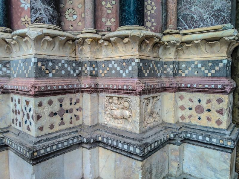 圣洛伦佐大教堂的装饰在热那亚 库存照片