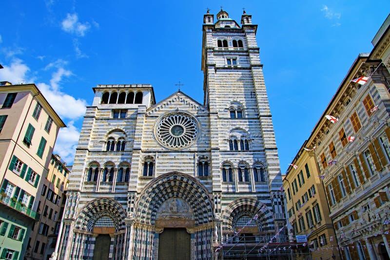 圣洛伦佐大教堂,在热那亚,复活节的意大利2019年 图库摄影