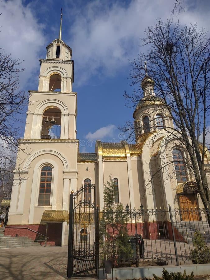 圣灵的教会在大教堂广场Sloviansk的 库存照片