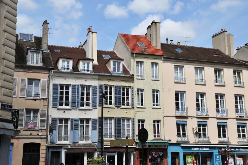 圣热尔曼en Laye,法国-可以2 2016年:美丽如画的市中心 库存图片