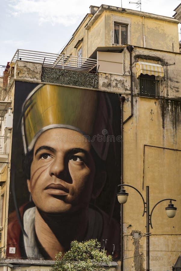 圣热纳罗Jorit的Murales在那不勒斯,意大利 库存图片