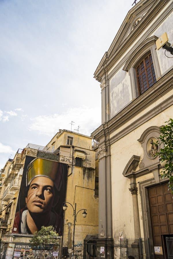 圣热纳罗Jorit的Murales在那不勒斯,意大利 图库摄影