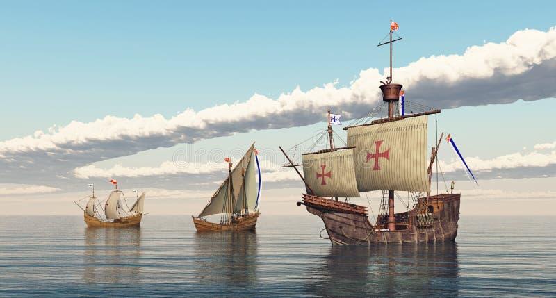 圣玛丽亚、克里斯托弗・哥伦布尼娜和Pinta  皇族释放例证