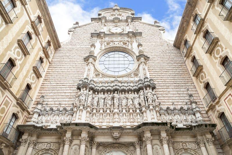 圣玛丽亚de蒙特塞拉特修道院,卡塔龙尼亚,西班牙门面  免版税图库摄影