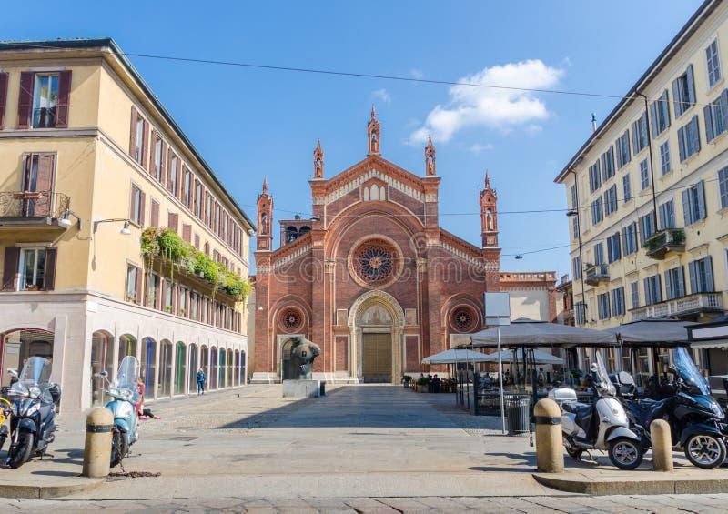 圣玛丽亚del Carmine Church在Brera,米兰, 库存图片