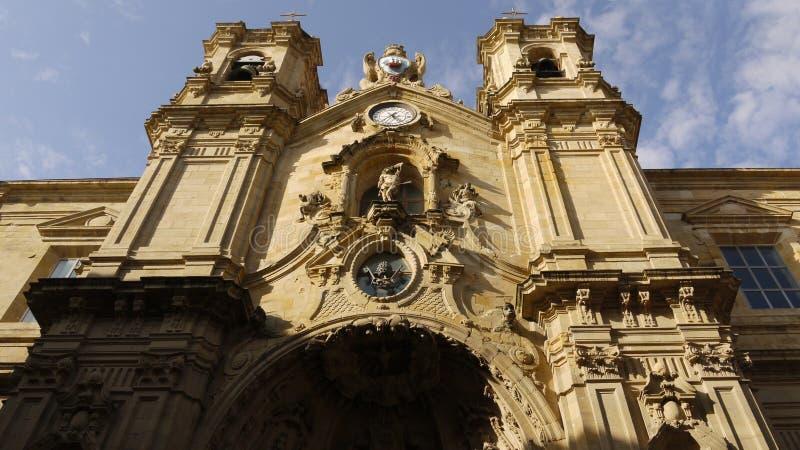 圣玛丽亚del Coro教会,在圣塞瓦斯蒂安(西班牙) 图库摄影