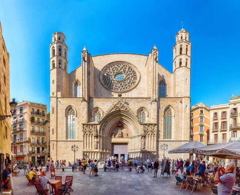圣玛丽亚Del Mar教会,巴塞罗那,卡塔龙尼亚, Spai门面  免版税库存照片
