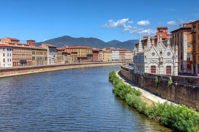 圣玛丽亚della斯皮纳,比萨,意大利 免版税图库摄影