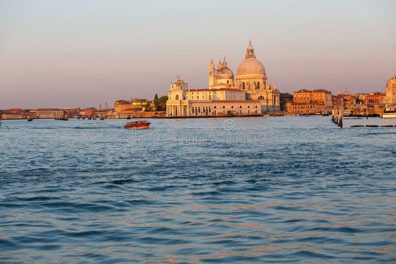 圣玛丽亚della致敬在威尼斯,日出的意大利 库存照片