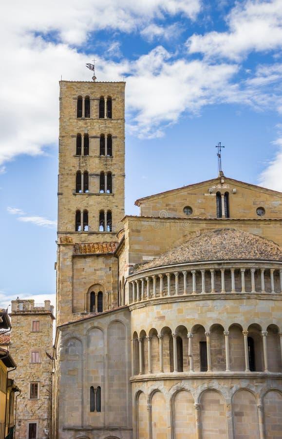 圣玛丽亚della Pieve教会在Arezz的历史中心 库存照片