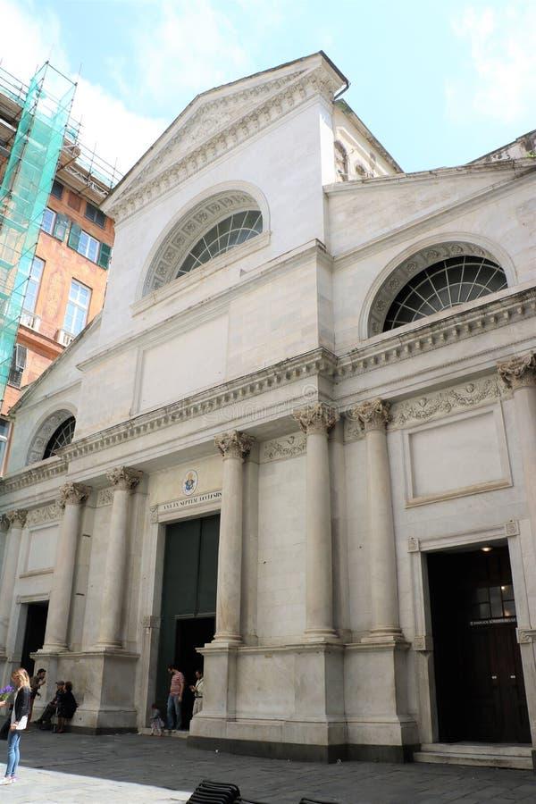 圣玛丽亚delle Vigne教会在热那亚,意大利 免版税图库摄影