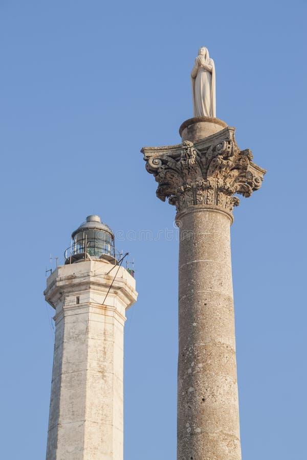 圣玛丽亚di Leuca,意大利和圣玛丽雕象灯塔  免版税库存图片